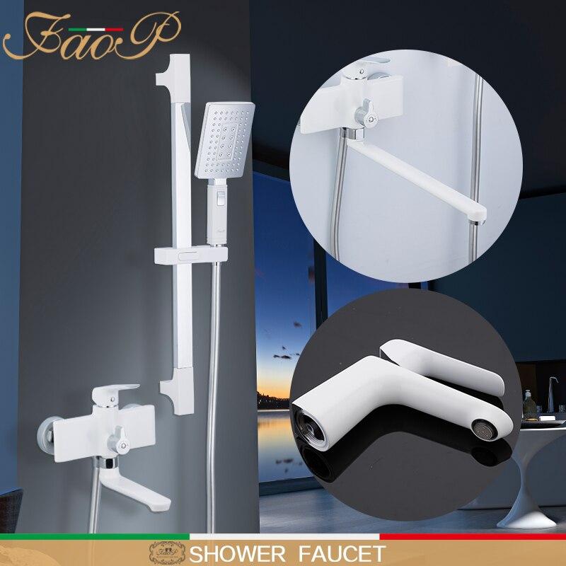Sistema de chuveiro FAOP branco conjuntos de chuveiro de Chuva de bronze torneira para banheiro Cachoeira misturador banheiro torneiras com torneira da bacia