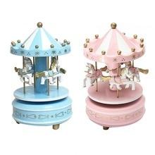 Круглая деревянная музыкальная шкатулка, игрушка для детей, детская игра, домашний декор, карусель, лошадь, музыкальная шкатулка, подарок на Рождество, свадьбу, день рождения