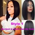 130 density brazilian virgin human hair short bob cut lace front wig baby hair straight full lace human hair wig for black women