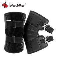 HEROBIKER Motorrad Knieschützer Echtem Leder Winter Warme Motorsiklet Dizlik Motocross Knie Schutz