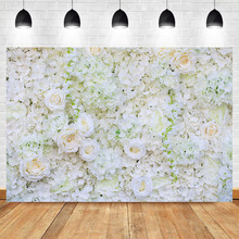 NeoBack Wedding Floral Wall Backdrop Valentines Day Flower Photography Background  White Flowers Party Backdrops