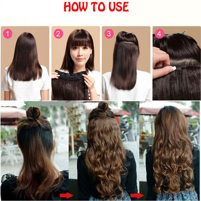 17 24 27 3 4 Full Head Clips In Hair Extension Black Blonde Hairpiece Fashion Long Synthetic Curly Wave Extentions On Aliexpress