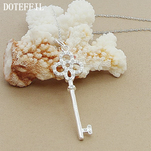 NEW 925 Sterling Silver Necklace AAA Cubic Zircon Lucky Flower Key Pendant Necklace Classic Design Korean Jewelry For Women