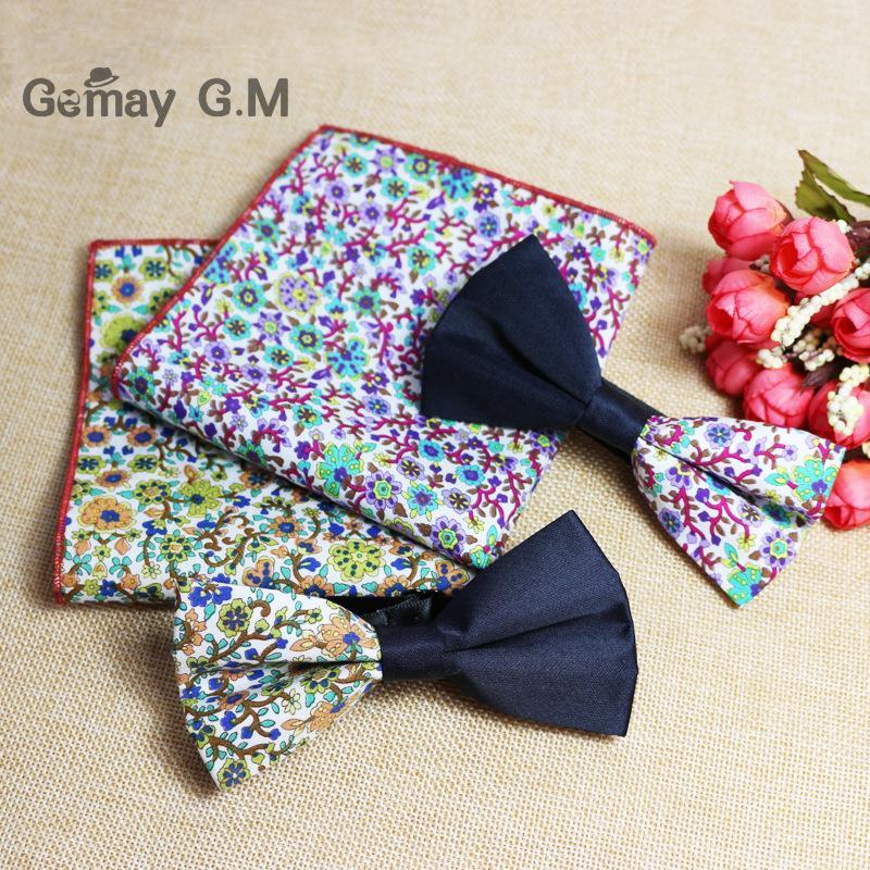 100% Cotton Jacquard Woven Men Bow Tie BowTie Pocket Square Cotton Handkerchief Hanky