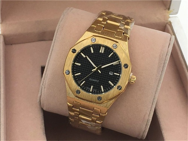 40mm High Quality Mens Sport Wrist Watch Wholesale Stainless Steel Quartz watch Movement Luxury Brand Calendar Clock Watch