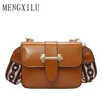 MENGXILU Saddle Crossbody Bag Women Messenger Bags Fashion Circular Leather Retro Brand Metal Ring Handbag For