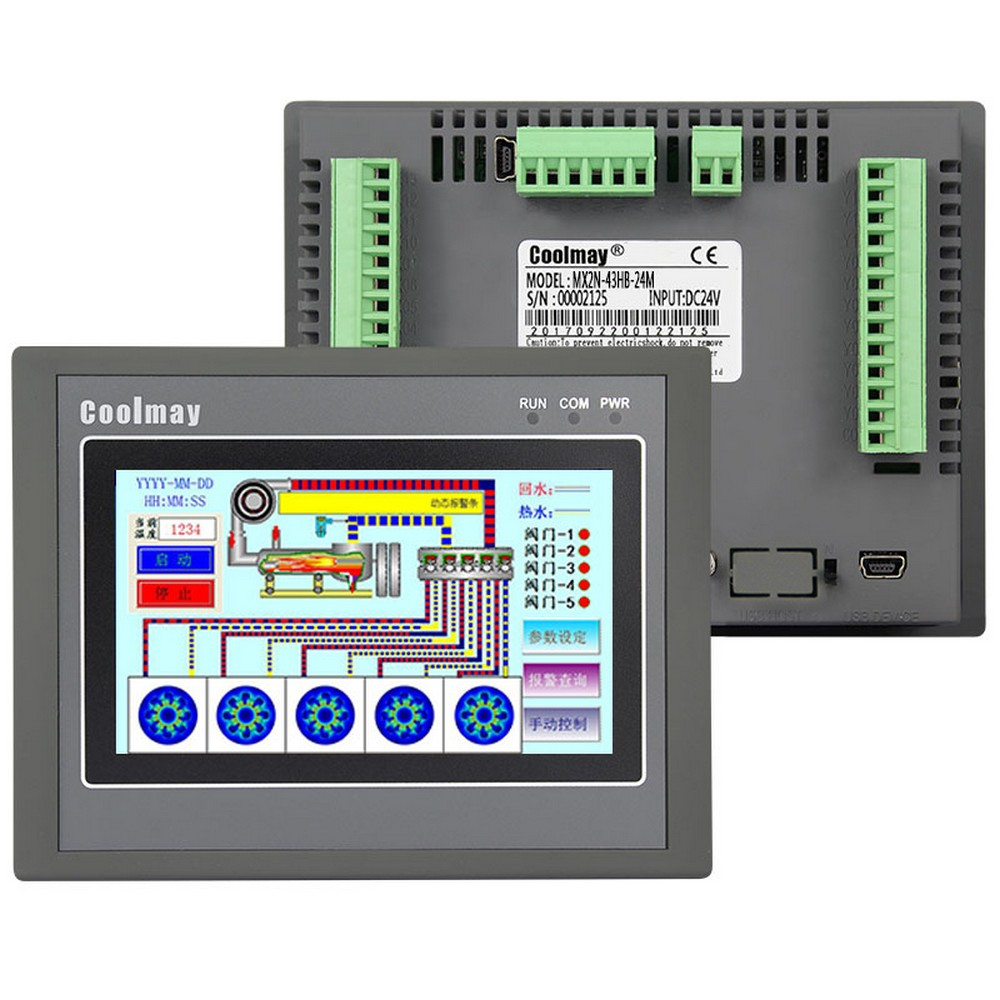 4.3'' HMI PLC All-in-one Integrated CPU Controller 4.3Inch Touch Panel DC24V Relay Output Digital I/O 12DI 12DO RS232 RS485 FX2N