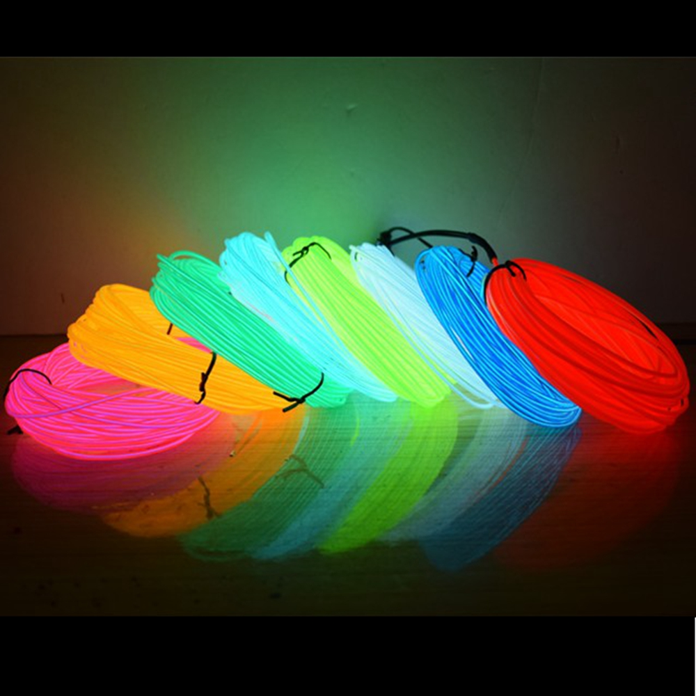 50M 100M 200M 500M EL Wire 2.3MM Electroluminescence Wire 10 Colors LED Strip Flexible Neon Light Luminotron Rope Glow Tube