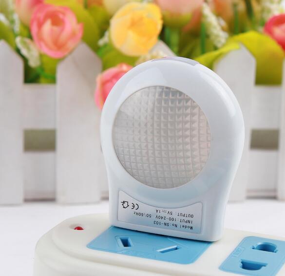 High Quality Mini LED 0.6W Night Light Lighting Control Auto Sensor Baby Kid Bedroom Lamp White EU Plug