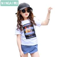 Summer Girls New Short Sleeve T Shirt Children S White Tops Baby Girls Cartoon Chicken Girl