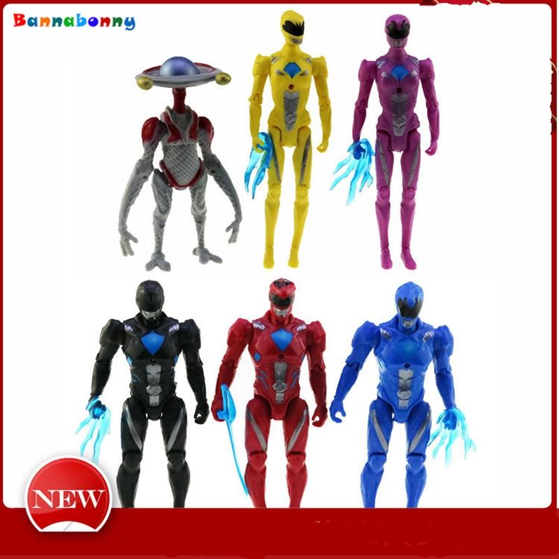 6PCS Lot Power Ranger Model Action Figures Dolls with Led Light toys for children