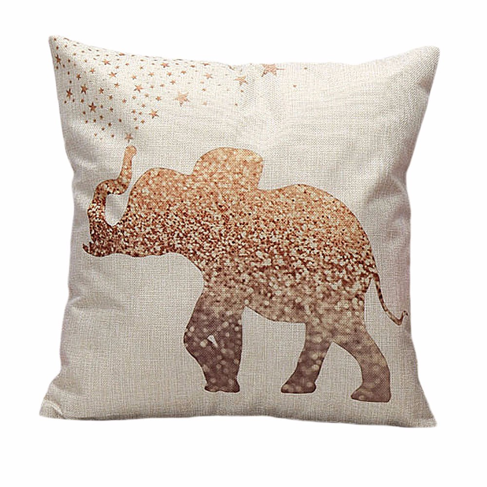 Elephant spraying the stars Vintage Cotton Linen Pillow Case Sofa Waist Throw Cushion Cover Home Decor