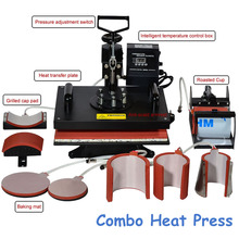 1pc 8 In 1 Combo Heat Transfer Machine Sublimation/ Heat Press Machine for Plate/Mug/Cap/T-Shirt /Phone case