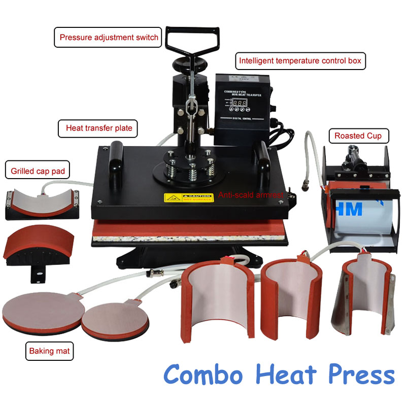 8 In 1 Combo Heat Transfer Machine Sublimation/ Heat Press Machine for Plate/Mug/Cap/T-Shirt /Phone case cheap manual swing away heat press machine for flatbed print 38 38cm