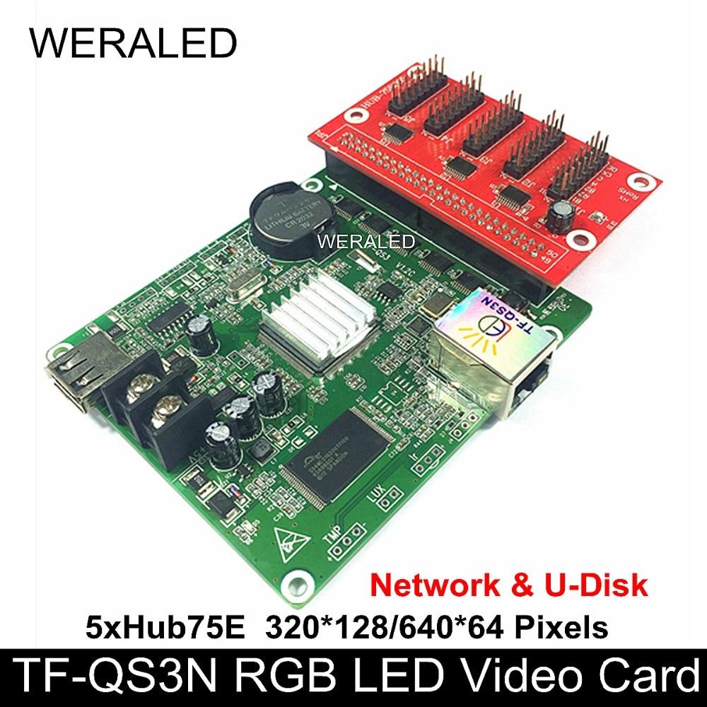 Asychronous TF-QS3N TF-QS3 Full Color LED Controller 160*128/320*64 Pixels ports Support P4/P5/P6/P7.62/P8/P10 RGB LED Module