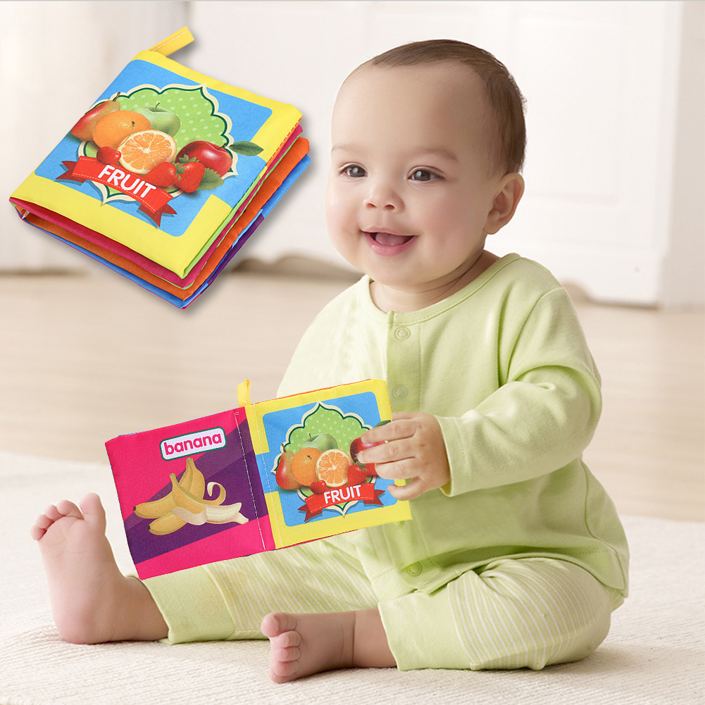 где купить Baby Cartoon Cloth Book Toys Kids Baby Infant Toy Anti-tear Fun Books Child Early Educational Soft English Fruit Cloth Book по лучшей цене