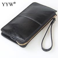 Different Colors Large Cowhide Leather Women Wallets Long Women Solid Money Purses Genuine Leather Wallet Zipper