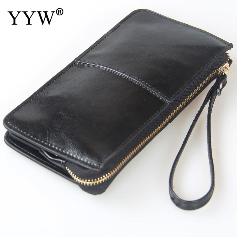 Different Colors Large Cowhide Leather Women Wallets Long Women Solid Money Purses Genuine Leather Wallet Zipper