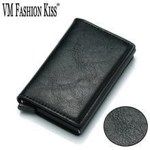 VM FASHION KISS 2018 NUEVO Titular de la tarjeta Mini RFID Blocking Wallet Tarjeta de crédito automática Titular de la tarjeta de visita Wallet Hold 7 Tarjetas