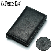 VM FASHION KISS 2018 Pemegang kad RFID mini baru menyekat dompet kad kredit automatik pemegang perniagaan dompet memegang 7 kad