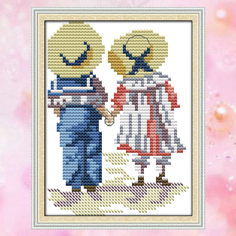 JoySunday Count Crossstitch Sister And Brother DMC14CT11CT Cotton Needlework Kit Livingroom Bedroom Baby Room Painting Wholesale