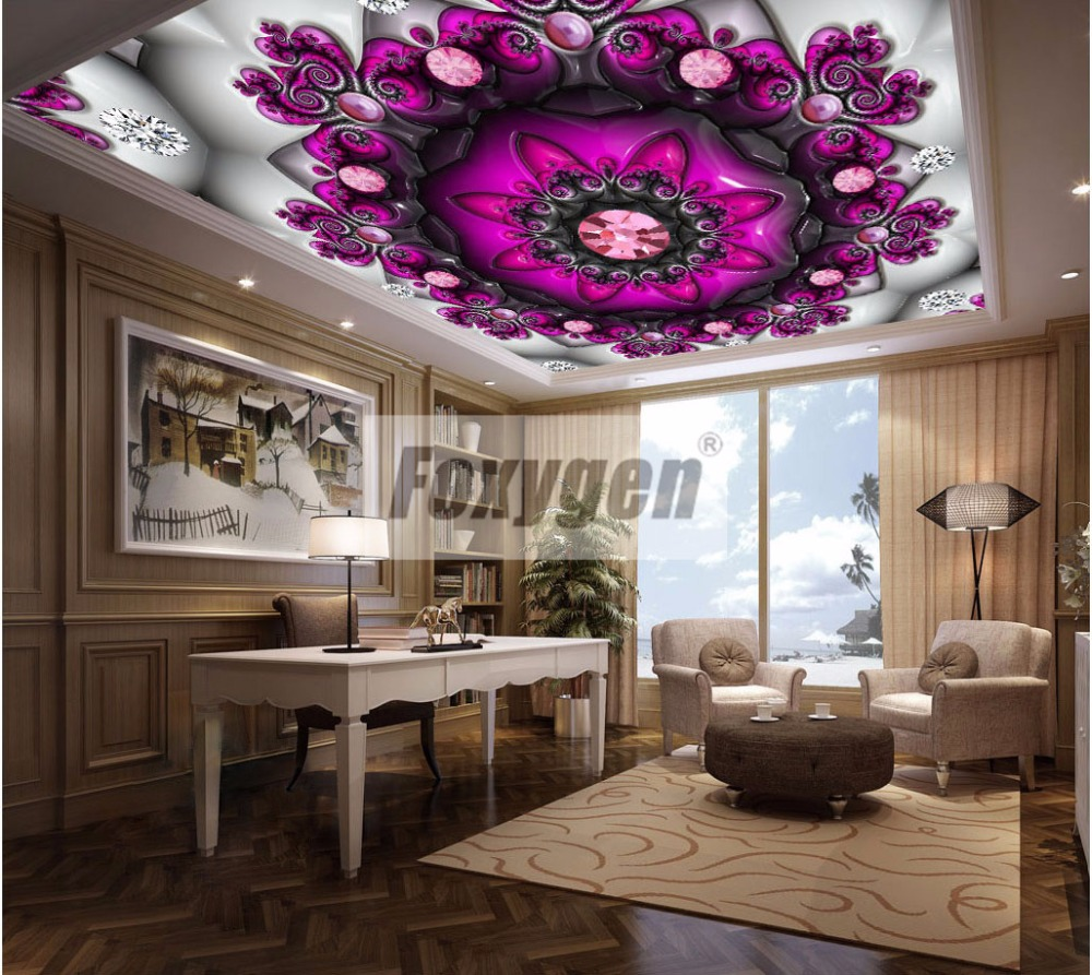 Foxygen ceiling and wall decoration materials PVC Suspended false stretch ceiling system abstract  flower designs matt foil soft pvc stretch ceiling film for swimming pool decoration