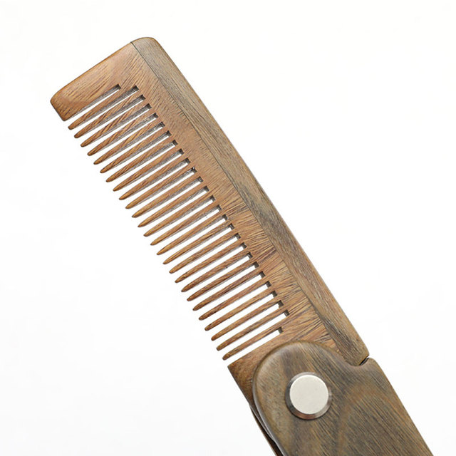 Natural Green Sandal wood Fold Comb Hair Comb For Men Beard Care  Anti-static Wooden Comb Hair Care Tools Hair Brush 1pc 5