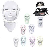 Photon Electric LED Facial Mask 7 Colors Led with Neck Skin Rejuvenation Anti Wrinkle Acne Photon Therapy Skin Care Salon tool