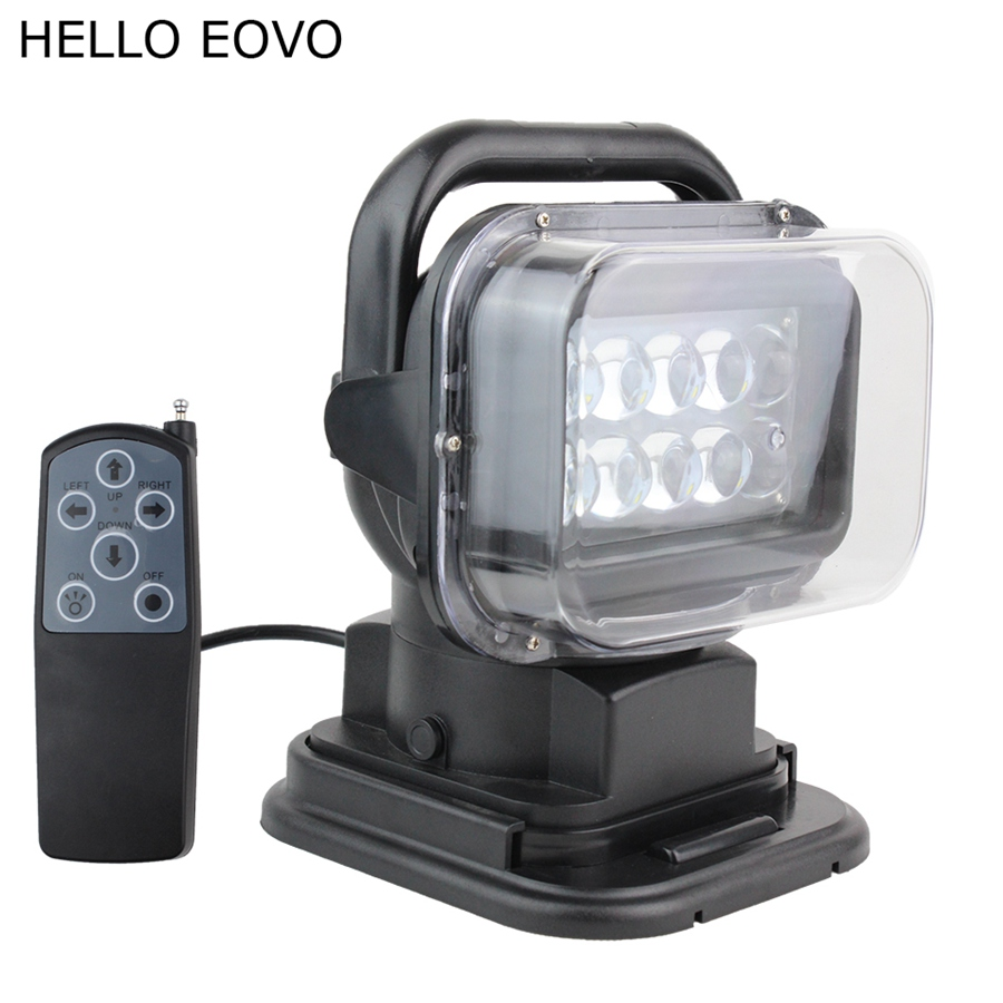 HELLO EOVO 7 Inch 50W Black Wireless Remote Controller LED Search Light for Work Offroad Boat Car Tractor Truck 4x4 SUV ATV 12V hello eovo 5d 32 inch curved led bar led light bar for driving offroad boat car tractor truck 4x4 suv atv with switch wiring kit