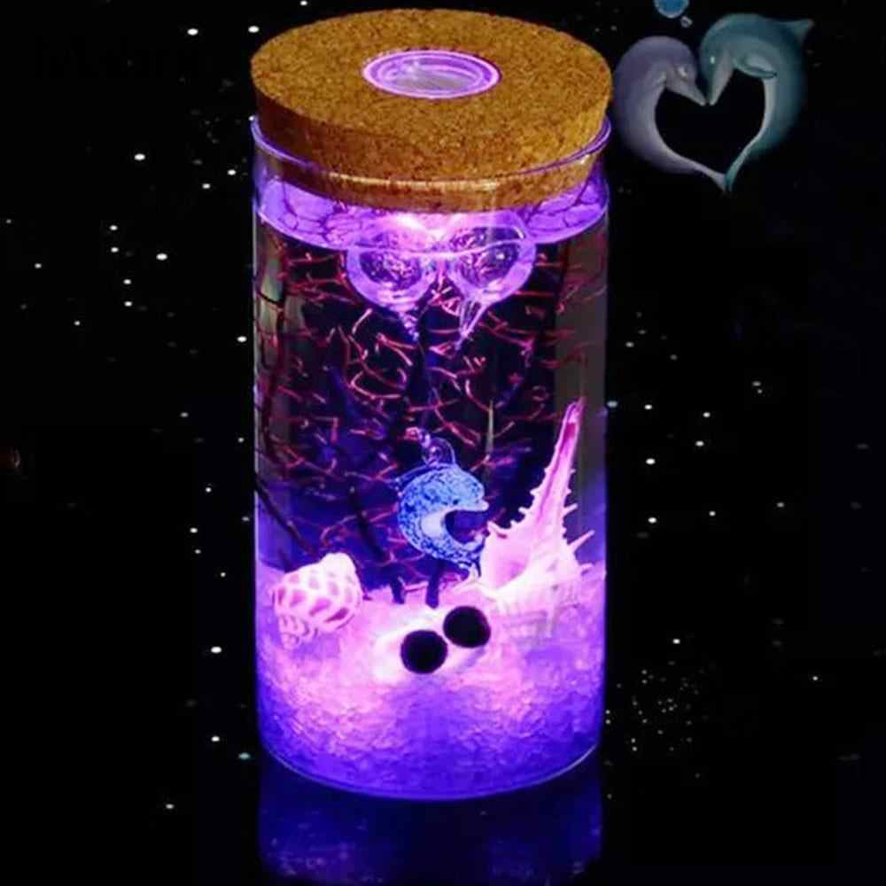 15 X 8CM LED Luminous Ecology Glass Bottle Night Light Storage Box New Valentine's Day Gift Valentine's Day Couple Novelty Light