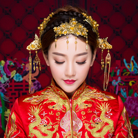 Vintage Gold Color Bridal Hairwear Chinese Traditional Hair Sticks Diamond Dangle Headpieces Bride Hair Jewelry Gift