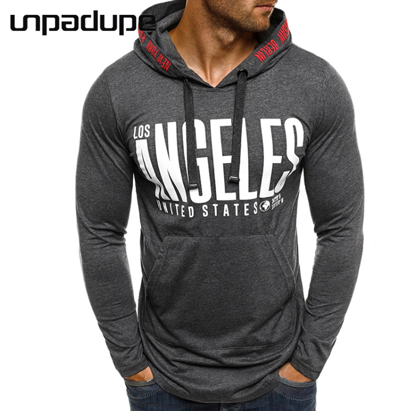 New Brand 2018 Male Slim Fit T Shirt Letter Hooded Mens Cotton Long Sleeve T-Shirts Men Spring&Summer Tee Casual Tshirt Men 3XL