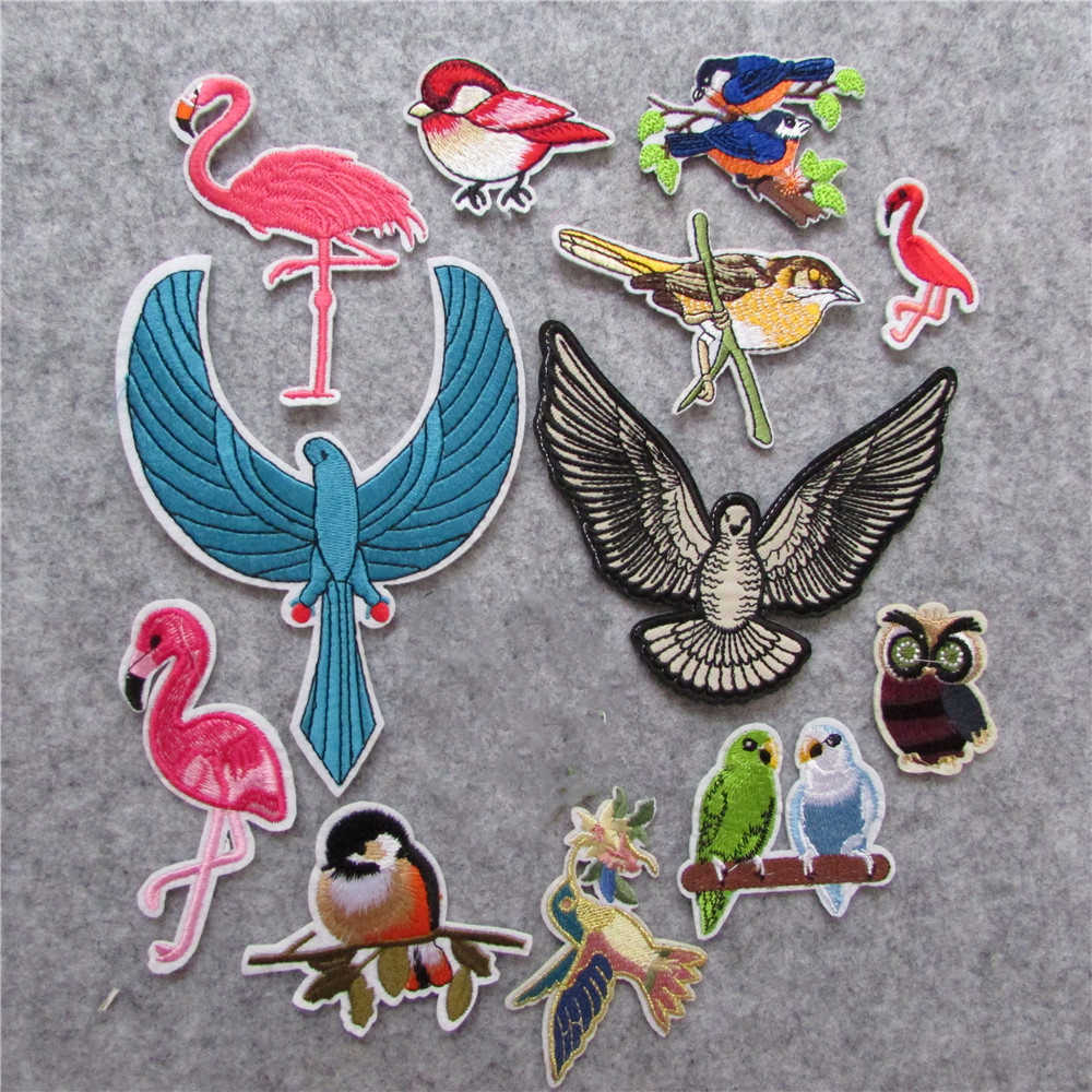 13 kind different fashion style  bird element hot melt adhesive applique embroidery patches stripes DIY accessories 1pcs sell