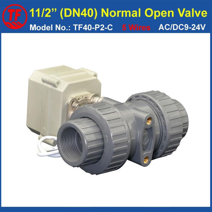 TF40-P2-C, AC/DC9-24V 5 Wires BSP/NPT 11/2'' PVC 2 Way DN40 Normal Open Valve With Signal Feedback 10NM On/Off 15 Sec Metal Gear tf25 b2 b 2 way dn25 full port power off return valve ac dc9 24v 2 wires normal open valve with manual override