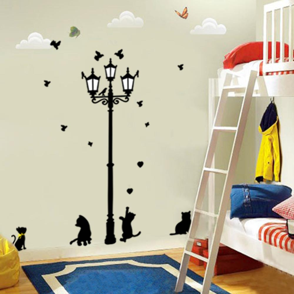 new hot naughty cats birds and street light lamp post wall stickers home decoation living room creative pvc decal free shipping
