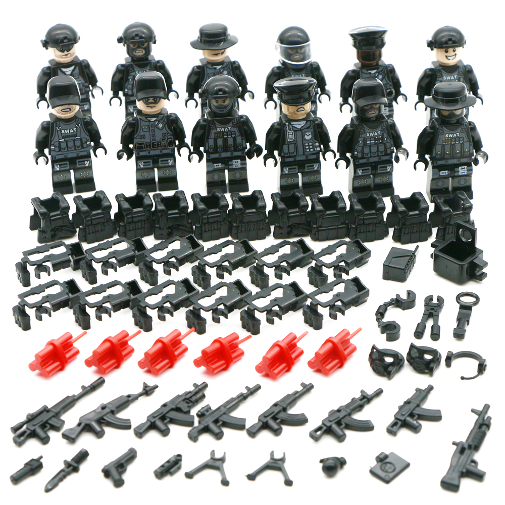 Disciplined Military Series Legoing Tank Swat Building Blocks Un Special Forces Soldiers Bricks Figures Tank Weapons Toys For Children Blocks