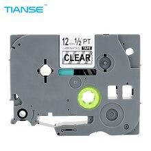 TIANSE этикетки Tap 1 шт. TZ131 TZ 131 TZe131 TZe 131 ламинированные клейкие TZ 131 tze 131 P Touch черный на прозрачном для принтера Brother