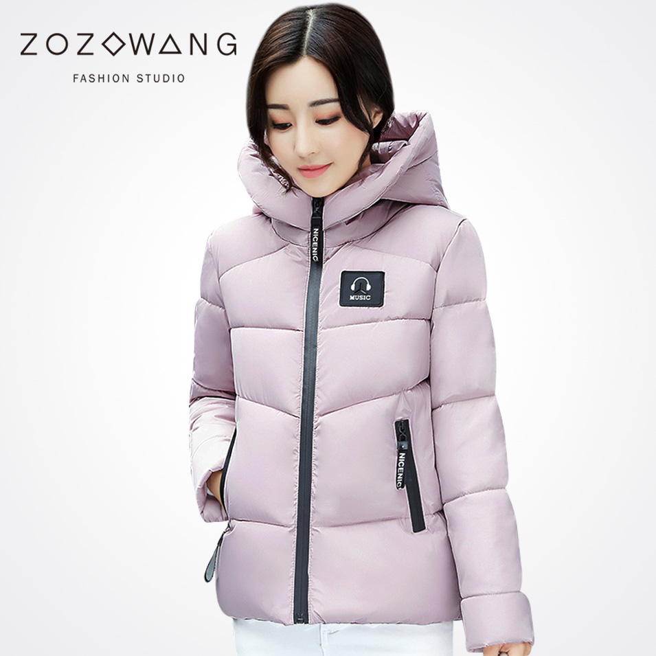 Zozowang solid hooded zipper Patch Designs letter keep warm short winter jacket women loose army green winter coat women плакат a2 42x59 printio драко малфой