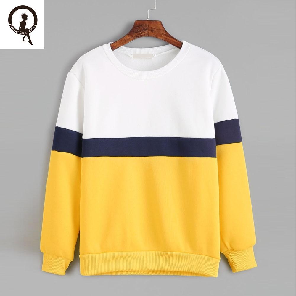 White Blue Yellow Stitching Sweatshirt Women Round Neck Long ...