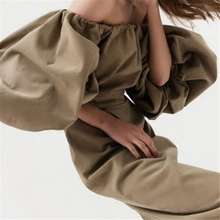 HIGH QUALITY New 2017 Runway Designer Dress Women's Slash Neck Big Lantern Sleeve Slim Pencil Dress