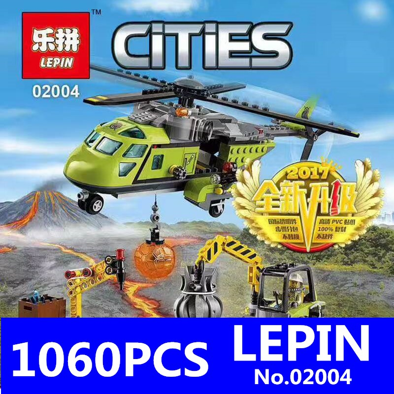 LEPIN 02004 City Series Helicopter Volcanic Expedition Blocks Compatible With 60123 Boy Assembling DIY Toys for Children Gift lepin 02012 city deepwater exploration vessel 60095 building blocks policeman toys children compatible with lego gift kid sets