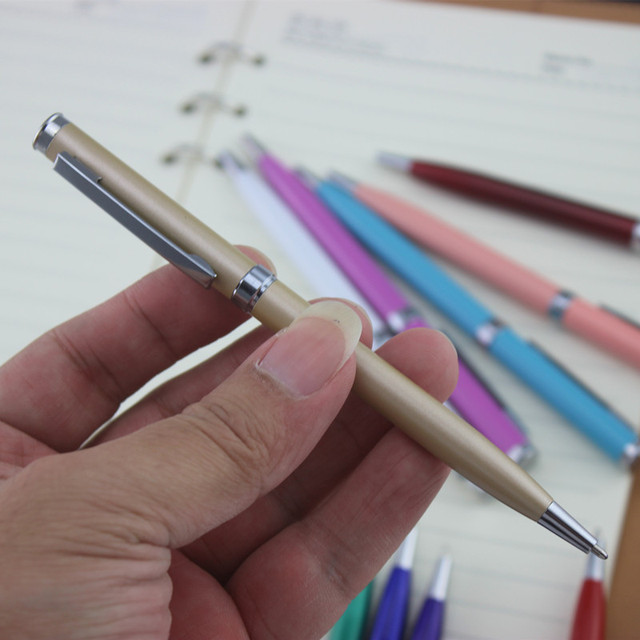 full metal ballpoint pen Rotary metal ball pen For Business Writing Office School Supplies black ink Refill Gifts pen 5