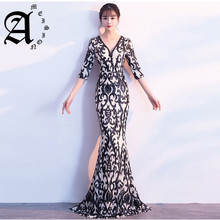 2019 Elegant See-through Back Evening Dresses Sequins Half Sleeve Beaded Sexy v-neck Long Party Formal Dress evening gowns
