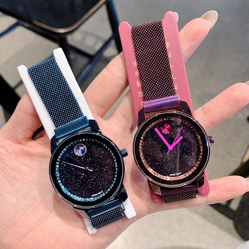 2019 femmes de luxe marque dame cristal montres bracelets femme mode ciel étoilé Quartz femmes montres horloge dames Relogio Feminino-in Montres femme from Montres    3