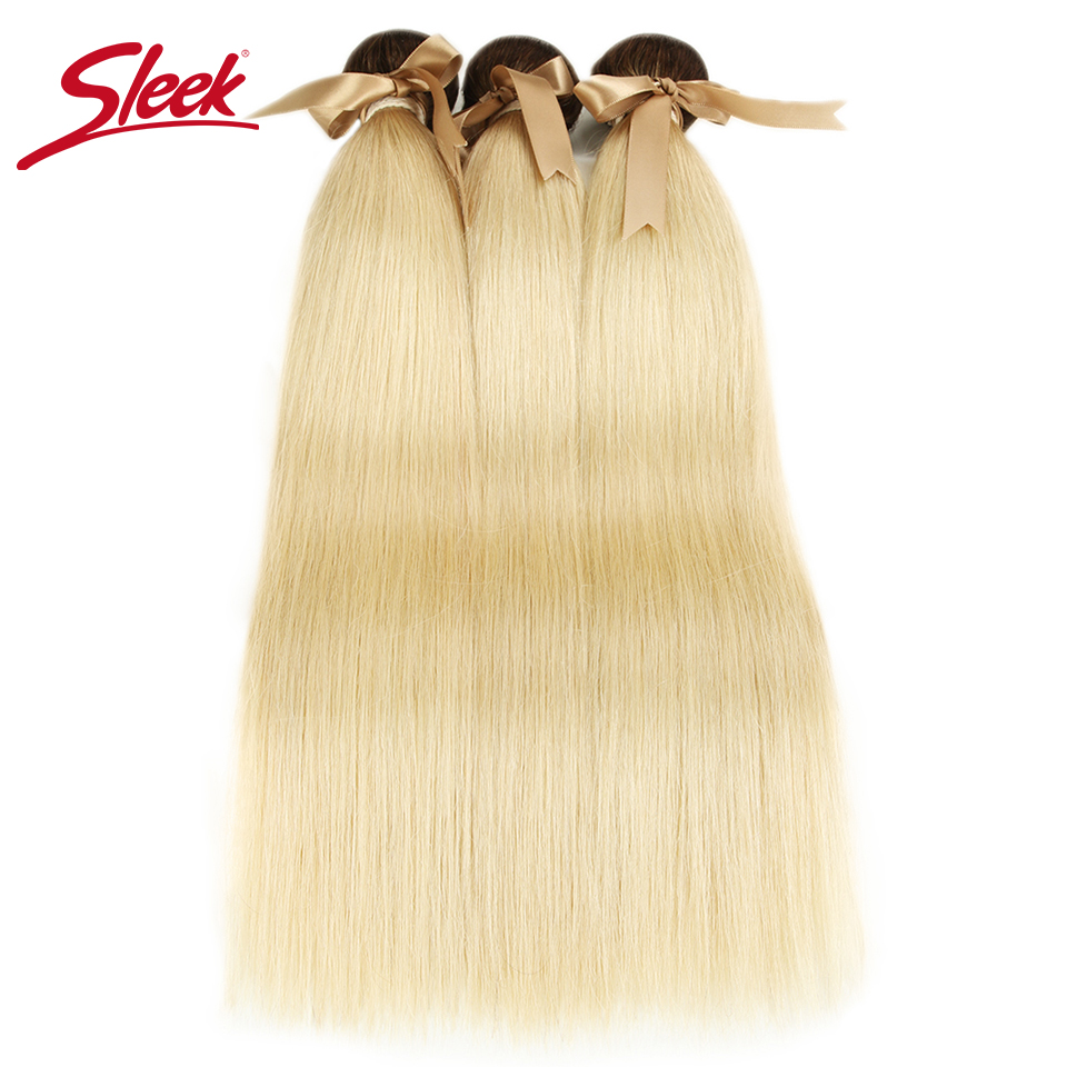 Sleek Ombre Blonde Hair Weaves Straight Brazilian Hair Bundles 100%  T4  613 Honey Straight Remy Hair Extensions 10 To 26 Inches