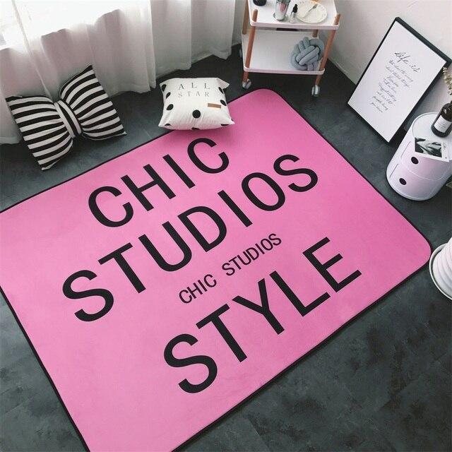 Fashion Chic Pink Large Black Words Living Room Bedroom Decorative ...