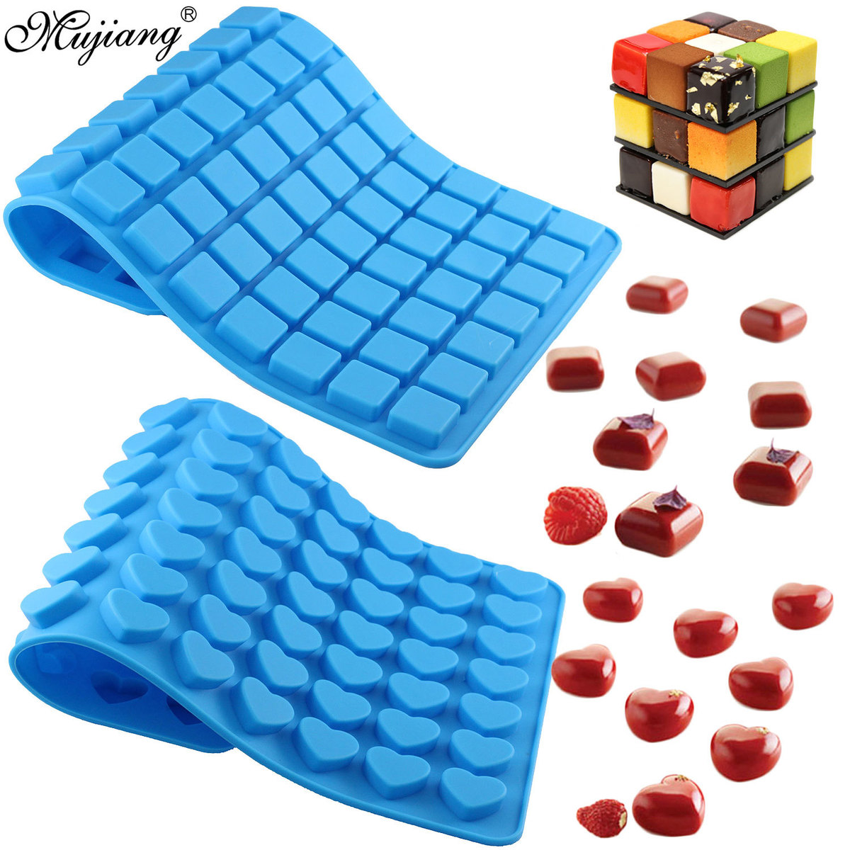 77 Cavity Square 70 Heart Silicone Mold Cake Decorating Ice Tray Jelly Chocolate Hard Candy Gummy Mold DIY Dessert Baking Moulds
