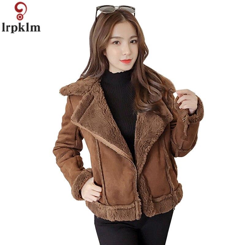 Haut de gamme Boutique femmes chaud peau de daim cachemire veste 2018 hiver dame épaississement veste loisirs sauvage fourrure col Outwear CH285