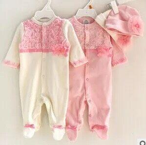 Do bebê do algodão rendas roupas para escalar roupas de duas peças de roupas