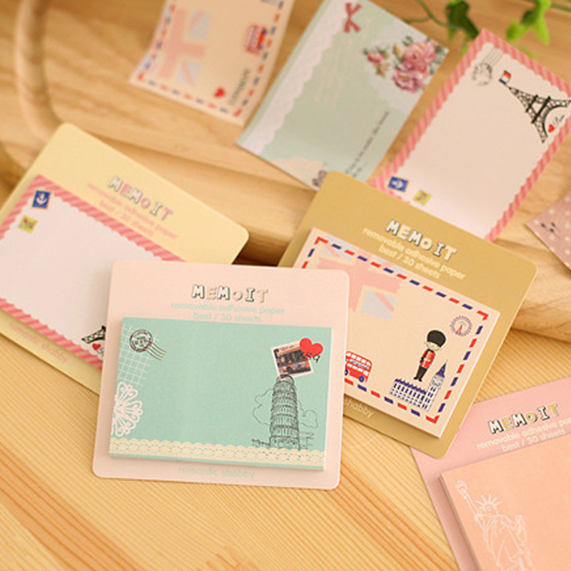 8 pcs/Lot Cute Office Sticky Notes and Travel Stickers Removable Adhesive Paper Gift for Kids Office & School Supplies
